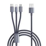 Кабель Romoss 3в1 Lightning+Micro-USB+Type-C CB25A плетеный серый